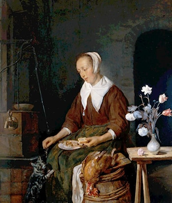 Woman Eating and Feeding her Cat by Gabriel Metsu