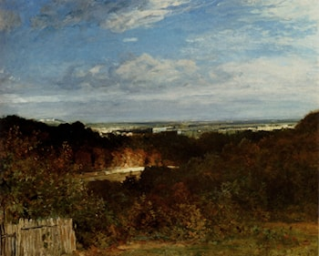 A View Towards The Seine From Suresnes by Constant Troyon