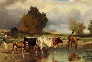 Vaches at veau a la marne by Constant Troyon