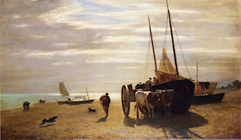 Beach At Trouville by Constant Troyon