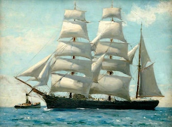 Barque in Full Sail Dropping Her Tug by Henry Scott Tuke