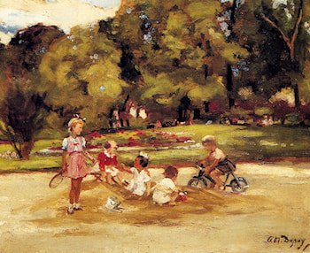 Children Playing In A Park by Paul Michel Dupuy