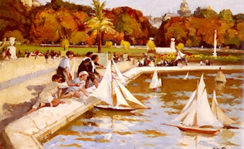 Children Sailing Their Boats in the Luxembourg Gardens, Paris by Paul Michel Dupuy