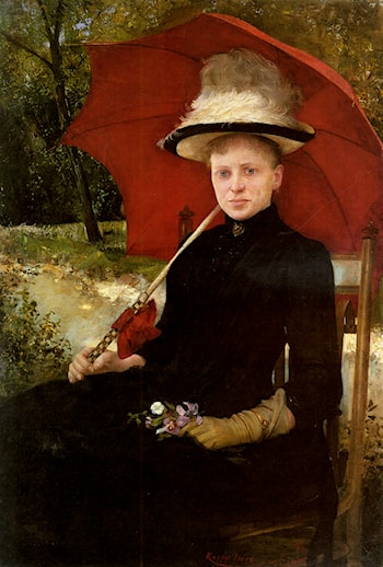 The Red Parasol by Imre Knopp