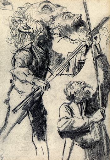Study Of A Male, Three Views by Adolph von Menzel