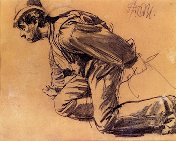 Study Of  A Laboror by Adolph von Menzel