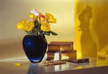 Yellow Roses, Blue Vase & Antique Books by Jeremiah Stermer