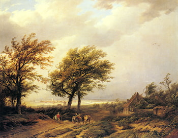 Travellers in an Extensive Landscape with a Town Beyond by Willem Bodemann