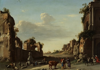 Roman Ruins with a Merchant Buying Bull by Cornelis van Poelenburgh