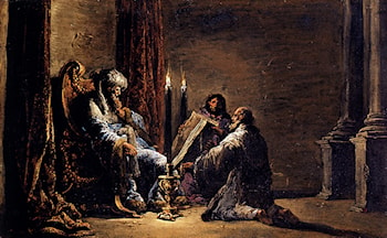The Scribe Shaphan Reading The Book Of Law To King Josiah by Leonaert Bramer