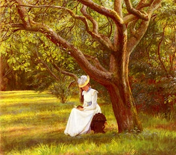 Reading In The Park by Micholine Anemine Christine Poulsen
