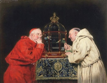 Cardinal and Friar Observing Birds in a Cage by Antonio Salvador Casanova Y Estorach