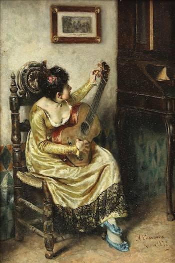 Seated Girl with Guitar by Antonio Salvador Casanova Y Estorach