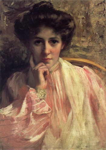 Portrait of a Lady in a Pink Dress by Thomas Benjamin Kennington