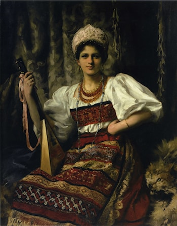 Portrait of the Artist's Daughter Anne in Russian Costume Holding a Balilaika by Thomas Benjamin Kennington