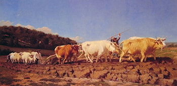 Ploughing in the Nivernais by Jules Jacques Veyrassat