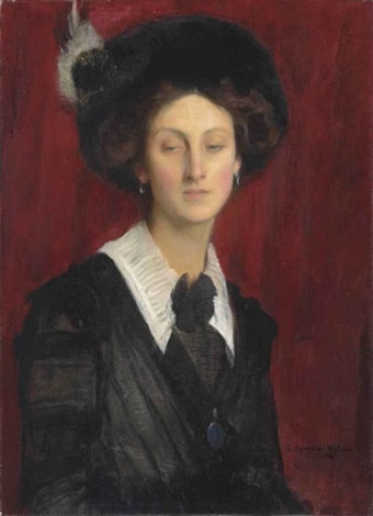 Hilda in a Black Hat by George Spencer Watson