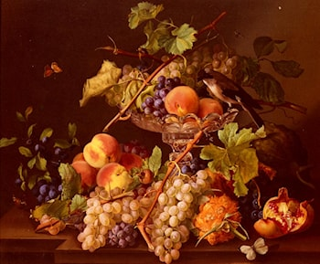 A Still Life With Song Bird And Fruit In A Crystal Tazza by Josef Seboth