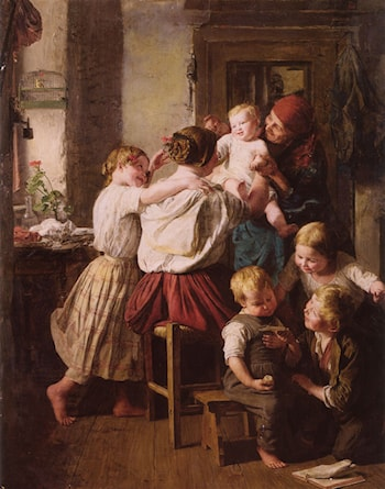 Children Making Their Grandmother a Present on Her Name Day by Ferdinand Georg Waldmuller