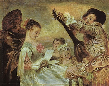 The Music Lesson by Jean-Antoine Watteau