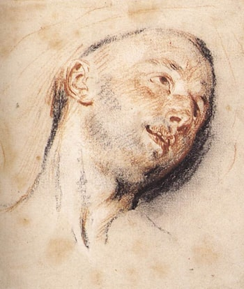 Head of a Man by Jean-Antoine Watteau