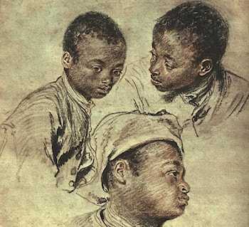 Three studies of a boy by Jean-Antoine Watteau