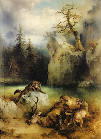 Wolves Preying on a Stag by Friedrich Gauermann