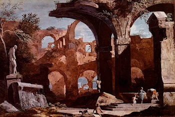 An Architectural Capriccio With Figures Investigating A Tomb Amongst Ruins by Marco Ricci