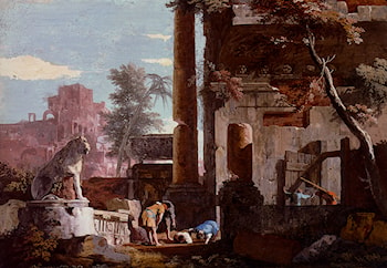 An Architectural Capriccio With Figures, A Man Drinking From A Fountain by Marco Ricci