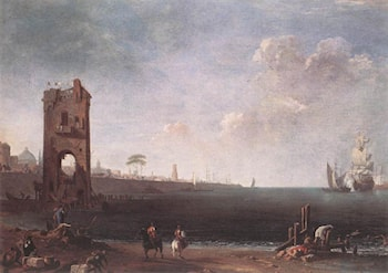 Coastal View with Tower by Marco Ricci