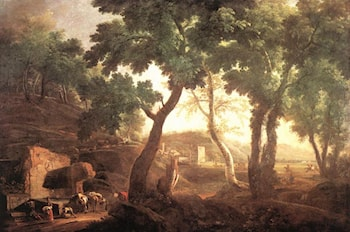 Landscape with Watering Horses by Marco Ricci