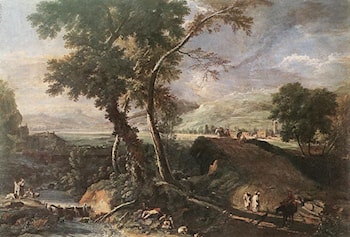 Landscape with River and Figures by Marco Ricci