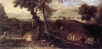 Landscape with Washerwomen by Marco Ricci