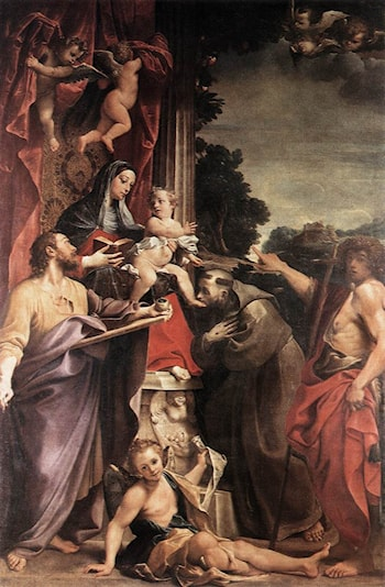 Madonna Enthroned with St Matthew by Annibale Carracci