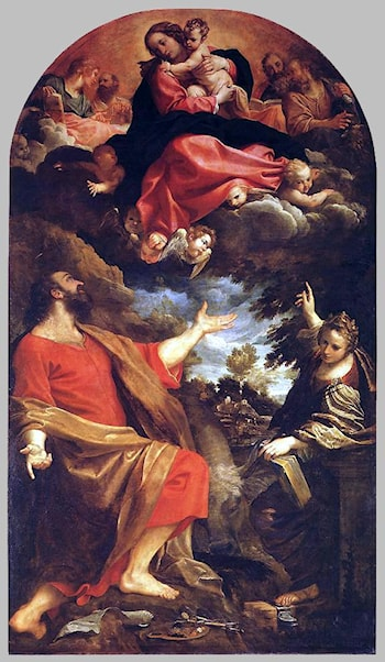 The Virgin Appears to St. Luke and Catherine by Annibale Carracci