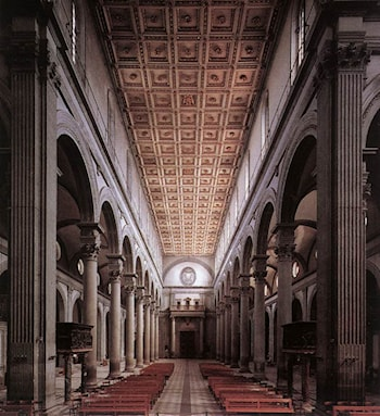 The nave of the church by Filippo Brunelleschi