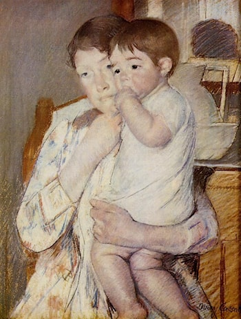 Baby in His Mother's Arms, Sucking His Finger by Mary Cassatt