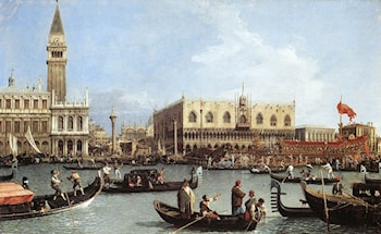 Return of the Bucentaurn to the Molo on Ascension Day by Canaletto