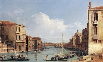 The Grand Canal from Campo S. Vio towards the Bacino by Canaletto