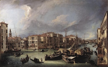 The Grand Canal with the Rialto Bridge in the Background by Canaletto
