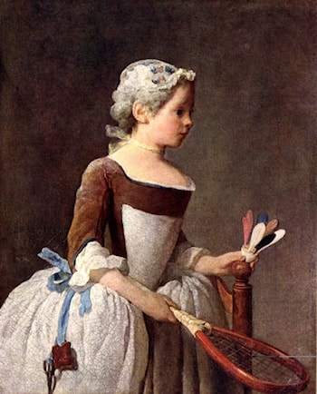 Girl with a featherball racket by Jean-Baptiste-Simeon Chardin