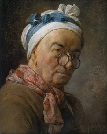 Selfportrait with glasses by Jean-Baptiste-Simeon Chardin