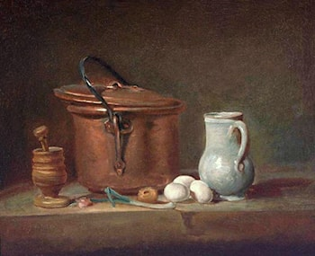 Still Life with Copper Pan and Pestle and Mortar by Jean-Baptiste-Simeon Chardin