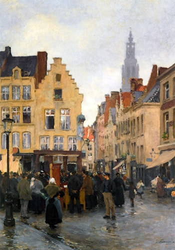 A Busy Market In Antwerp by Edgard Farasyn