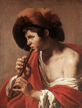Boy Playing Flute by Hendrick Terbrugghen