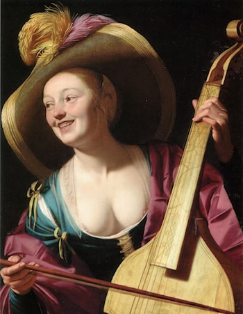 A young woman playing a viola da gamba by Gerrit van Honthorst