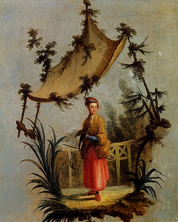 A Woman With A Bird by Jean-Baptiste Le Prince