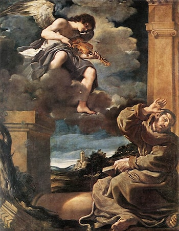 St Francis with an Angel Playing Violin by Guercino