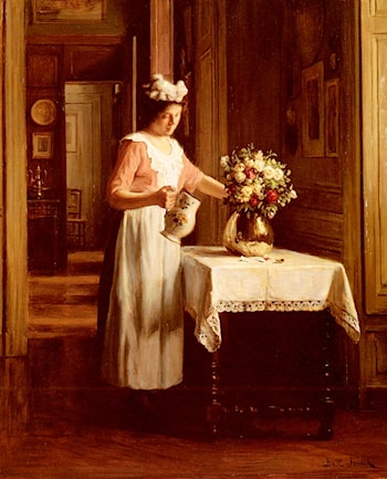 A Maid Watering Flowers by Franck Antoine Bail