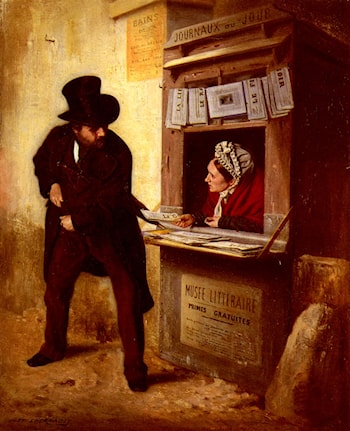 At The Newspaper Kiosk by Just L'Hernault